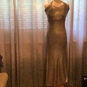 NWT Xscape gold sequin dress